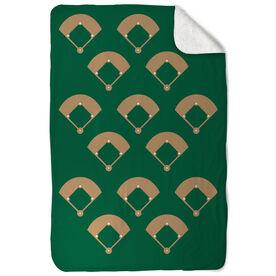 Baseball Sherpa Fleece Blanket Across The Field