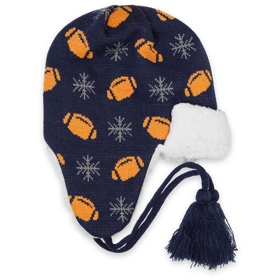 Football Sherpa Trapper Hat - Snowflake