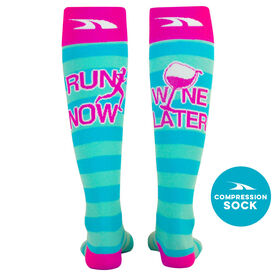 Run for Wine Compression Knee Socks