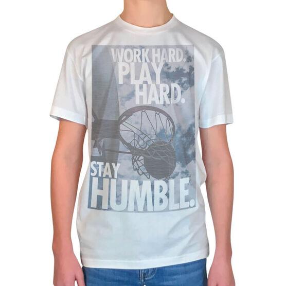 Vintage Basketball T-Shirt - Work Hard Play Hard Stay Humble