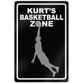 "Basketball Aluminum Room Sign Personalized Basketball Zone Guy (18"" X 12"")"
