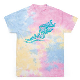 Cross Country Short Sleeve T-Shirt - Winged Foot Inspirational Words Tie Dye