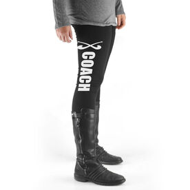 Field Hockey High Print Leggings Coach with Sticks