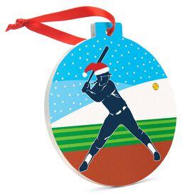 Softball Round Ceramic Ornament - Silhouette with Santa Hat