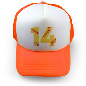 Softball Trucker Hat Number Stitches
