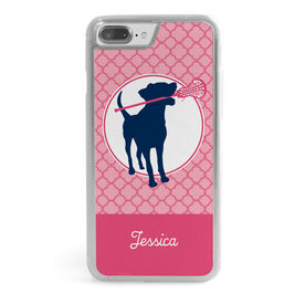 Girls Lacrosse iPhone® Case - Personalized Lacrosse Dog with Girl Stick