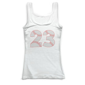 Baseball Vintage Fitted Tank Top - Number Stitches