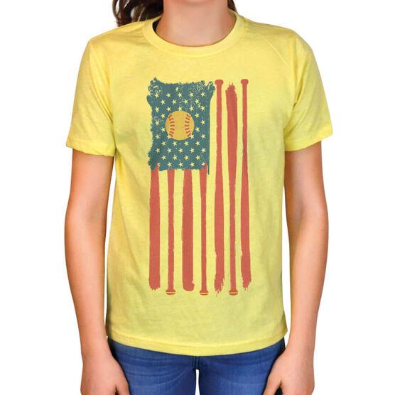 Softball Vintage T-Shirt - American Flag with Ball