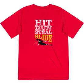 Softball Short Sleeve Performance Tee - Hit Run Steal Slide