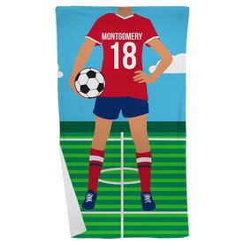 Soccer Beach Towel - Female Soccer Player