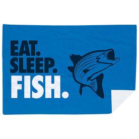 Fly Fishing Premium Blanket - Eat. Sleep. Fish. Horizontal