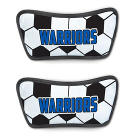 Soccer Repwell™ Sandal Straps - Soccer Ball Texture With Text
