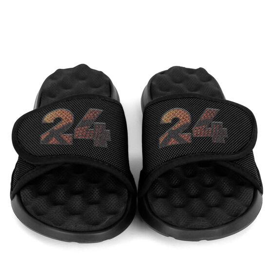 Basketball PR SOLES® Adjustable Strap Recovery Slide Sandals - Custom Basketball Number