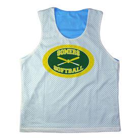 Girls Softball Racerback Pinnie Personalized Softball Team with Crossed Bats Yellow Green