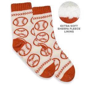 Baseball Slipper Socks with Sherpa Lining