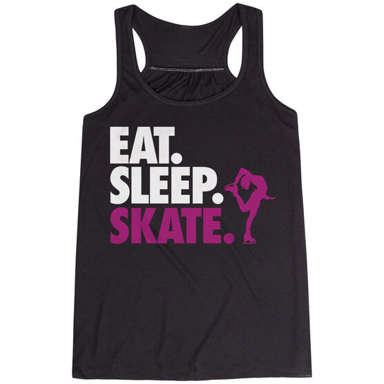 Figure Skating Flowy Racerback Tank Top - Eat Sleep Skate (Bold Text)