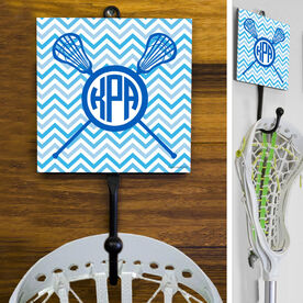Lacrosse Hook Monogram with Crossed Sticks and Chevron Pattern