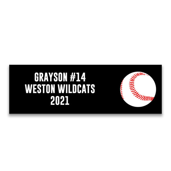 "Baseball 12.5"" X 4"" Removable Wall Tile - Personalized Team"