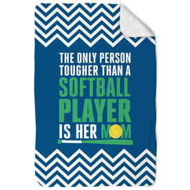 Softball Sherpa Fleece Blanket Tougher Than A Softball Player