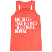 Softball Flowy Racerback Tank Top - Eat Sleep Take The Kids To Softball