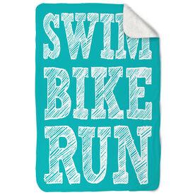 Triathlon Sherpa Fleece Blanket - Swim Bike Run Stacked