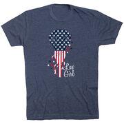 Girls Lacrosse Short Sleeve T-Shirt - Patriotic Lax Girl