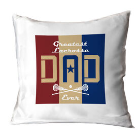 Girls Lacrosse Throw Pillow - Greatest Dad Stripes