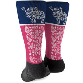 Girls Lacrosse Printed Mid-Calf Socks - Lax Elephant