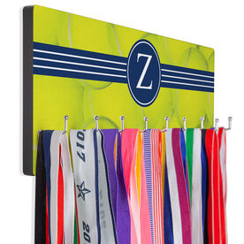Tennis Hooked on Medals Hanger - Personalized Ball Background With Monogram