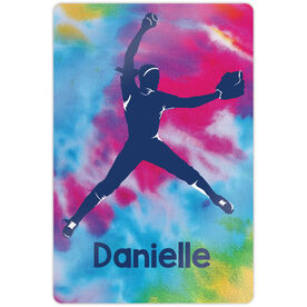 """Softball 18"""" X 12"""" Aluminum Room Sign - Personalized Pitcher With Tie-Dye"""