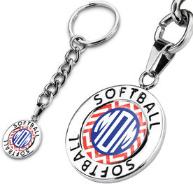 Softball Circle Keychain Softball Chevron Mom-ogram