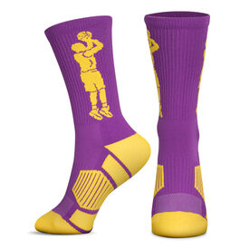 Basketball Woven Mid-Calf Socks - Player Jump Shot (Purple/Gold)