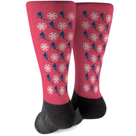 Skiing Printed Mid-Calf Socks - Pattern