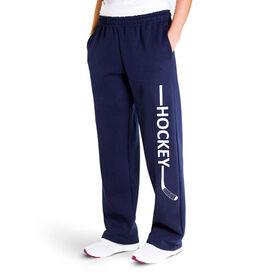 Hockey Fleece Sweatpants - Hockey Stick Word
