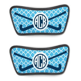 Field Hockey Repwell™ Sandal Straps - Personalized Monogram Stick with Quatrefoil Pattern