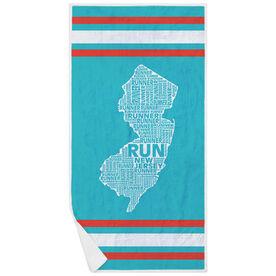 Running Premium Beach Towel - New Jersey State Runner