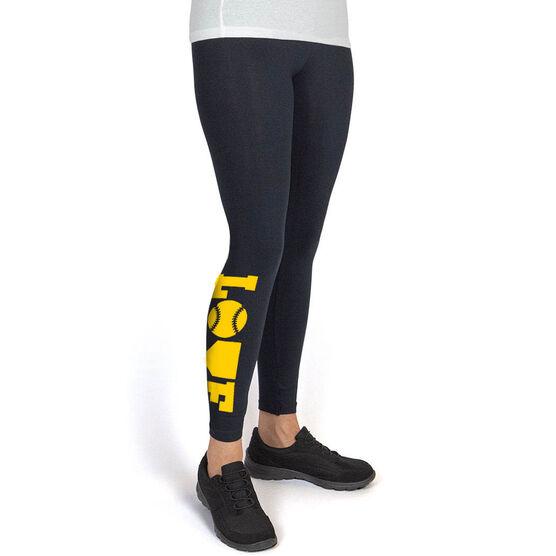 Softball Leggings - Softball Love (Yellow)