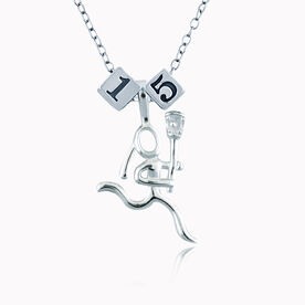 Sterling Silver Square Number Bead & Sterling Silver Lacrosse Girl (Stick Figure) Necklace