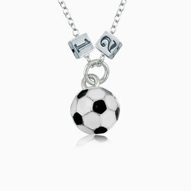 Sterling Silver Square Number Bead & Soccer Ball Necklace
