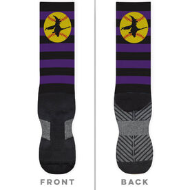 Softball Printed Mid-Calf Socks - Witch Riding Softball Bat