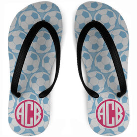 Soccer Flip Flops Monogram with Ball Pattern