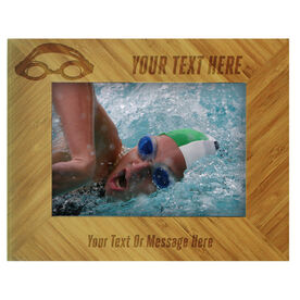 Swim Bamboo Engraved Picture Frame Your Text