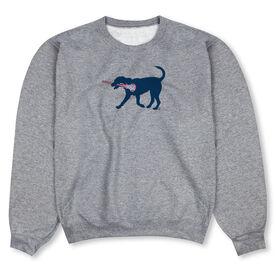 Girls Lacrosse Crew Neck Sweatshirt - LuLa The LAX Dog (Blue)