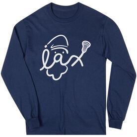Lacrosse Long Sleeve T-Shirt - Santa Lax Face