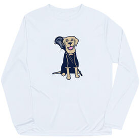 Guys Lacrosse Long Sleeve Performance Tee - Riley The Lacrosse Dog