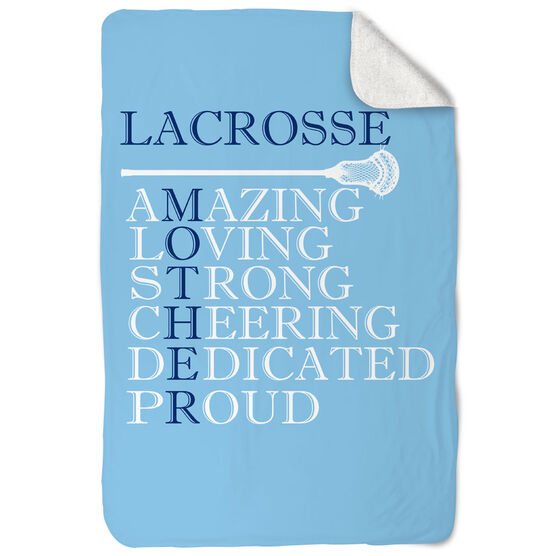 Guys Lacrosse Sherpa Fleece Blanket - Mother Words