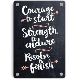 Running Metal Wall Art Panel - Chalkboard Courage To Start