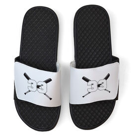 Softball White Slide Sandals - Crossed Bats with Numbers