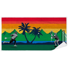 Guys Lacrosse Premium Beach Towel - Go for the Goal Tropical