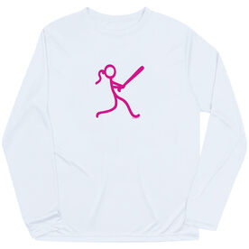 Softball Long Sleeve Performance Tee - Stick Figure Batter